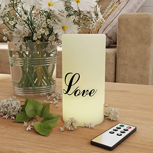 Lavish Home LED Candle with Remote Control-Love Vanilla Scented Wax Realistic Flickering or Steady Flameless Pillar Light-Ambient Home Decor