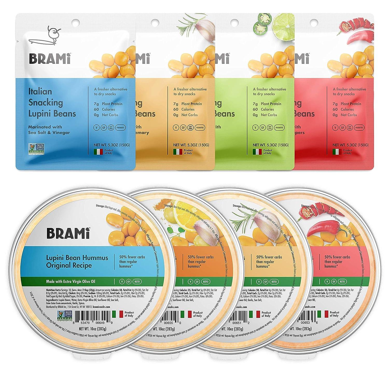BRAMI Lupini Beans Snack, Variety 5.3oz (4 Pack) + Lupini Bean Hummus Dip & Spread, Variety 10oz (4 Pack) Bundle