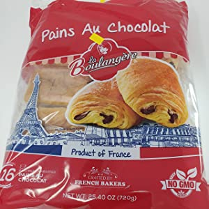 French Chocolate Croissants Pains Au Chocolat Brioche Style Puff Pastry Non GMO 16 PCs
