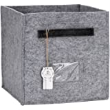 "Sea Team 11"" Collapsible Felt Cube Storage Bin Organizer Container Drawer Foldable Fabric Storage Basket with Handles and Tag Interlayer (Grey)"