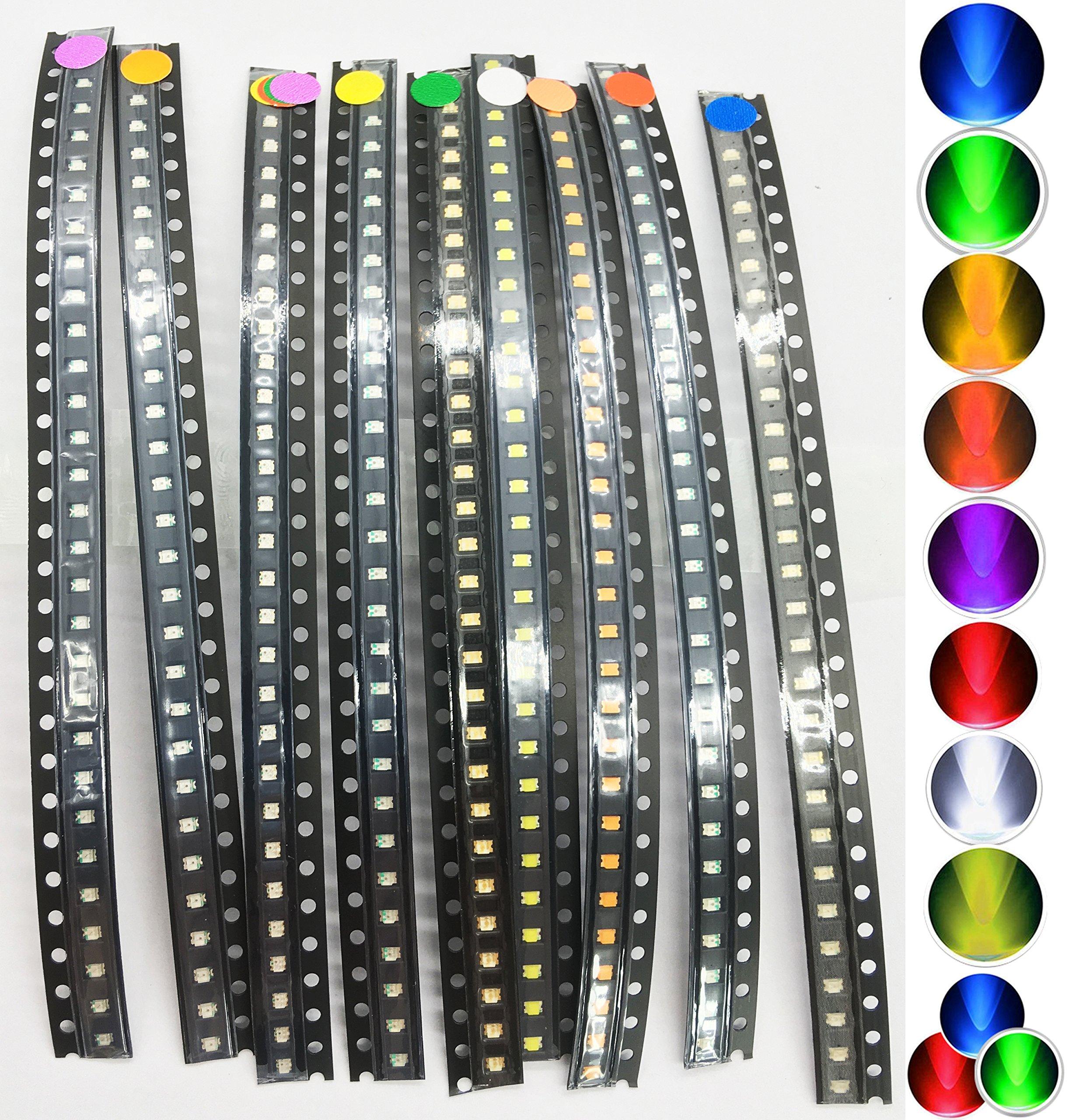 270 pcs SMD SMT 0805 Super Bright LED Blue, Red, White, Green, Orange, Yellow, Purple, Pink, Colorful-flash 30pcs each color, Kaifa (0805)