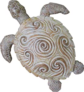 World of Wonders - Ocean Harmony Series - Bermuda - Elegant Sea Turtle Wall Decor Hand-Painted Easy Mount Beach House Shabby Chic Life Marine Life Nautical Home Decor Accent, 13-inch