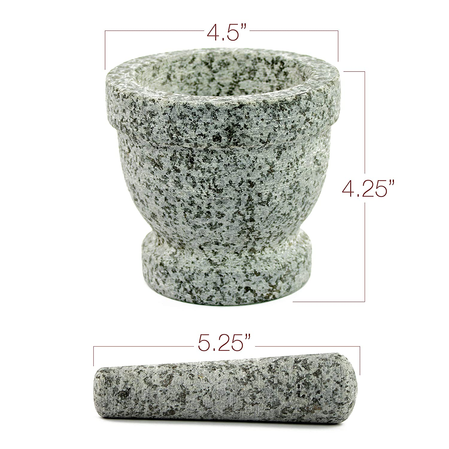 Unpolished Granite with Bonus Garlic Peeler Protective Pad for Stability and Protected Counters Mortar and Pestle Set
