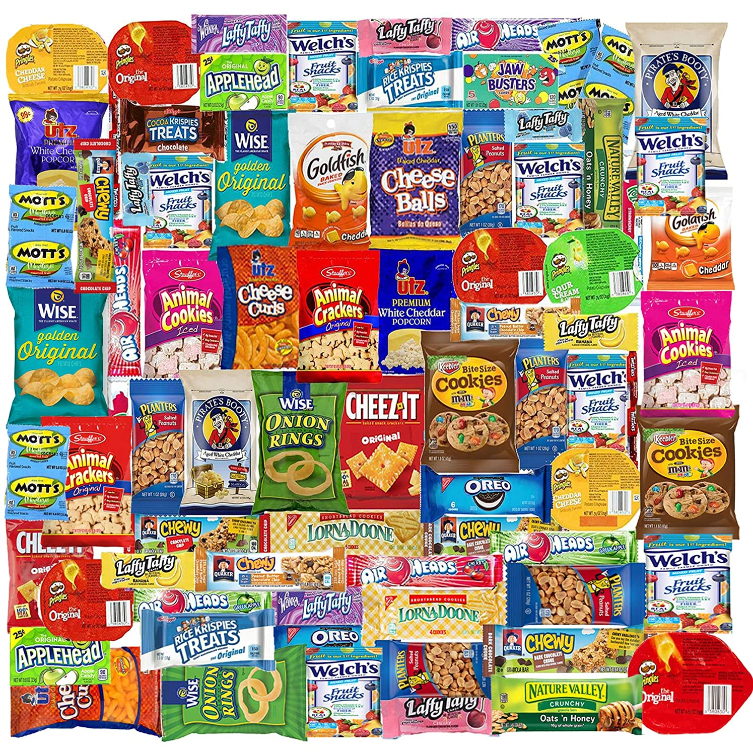 Blue Ribbon Care Package 90 Count Ultimate Sampler Mixed Bars, Cookies, Chips, Candy Snacks Box for Office, Meetings, Schools,Friends & Family, Military,College, Halloween, Fun Variety Pack