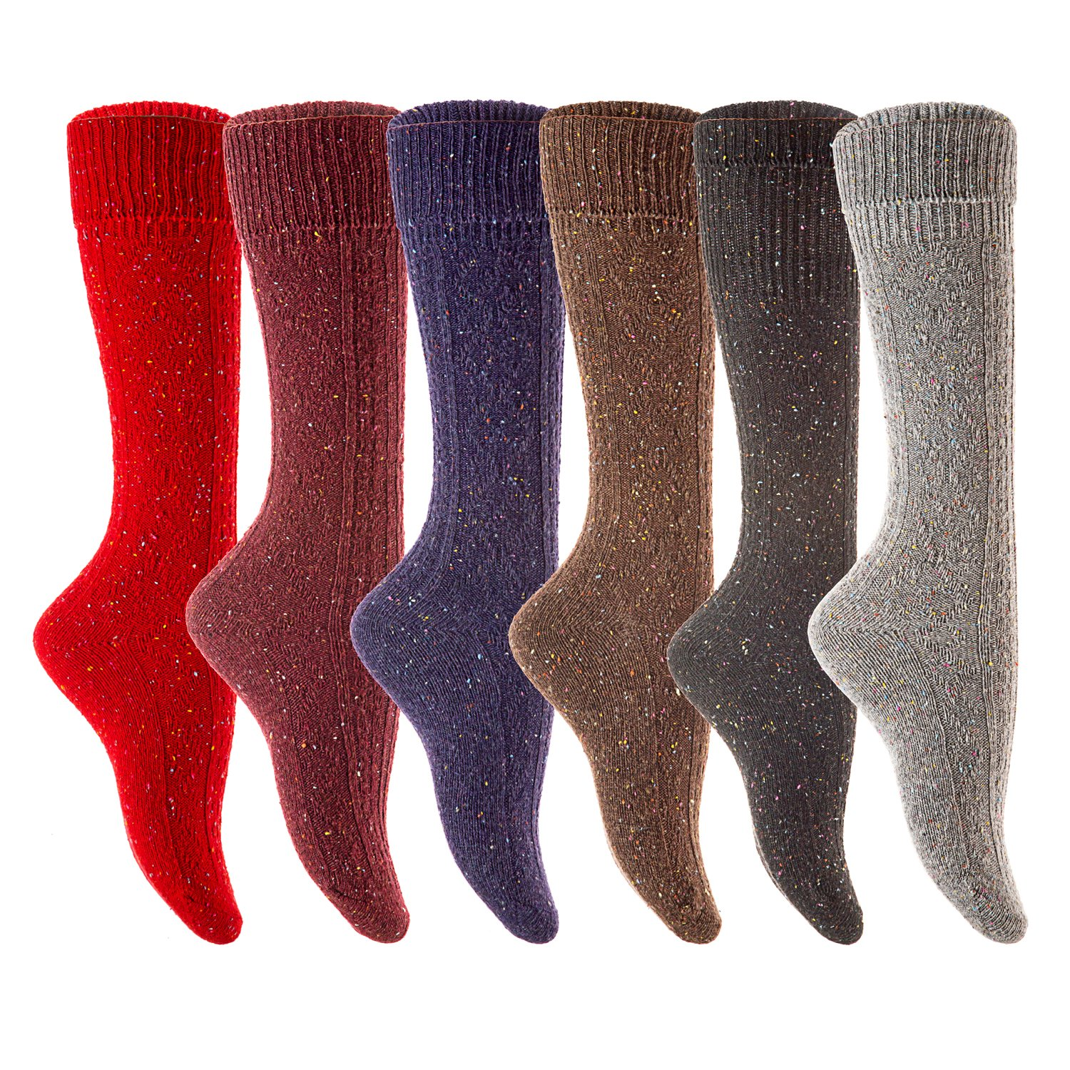 Lian LifeStyle Womens 1 Pair High Crew Wool Socks Size 7-9 (Black) at Amazon Womens Clothing store: