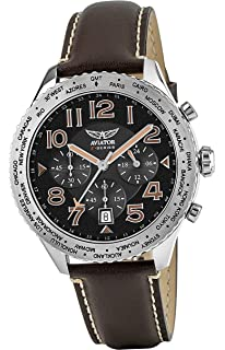AVIATOR Brown Leather Strap Watch - Aviators Chronograph Watches for Men - Waterproof 10 ATM Mens
