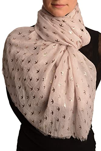 Red Gold Printed Swallows On Beige Scarf - Scarf - Beige Bufanda Talla unica - 74cm x 180cm