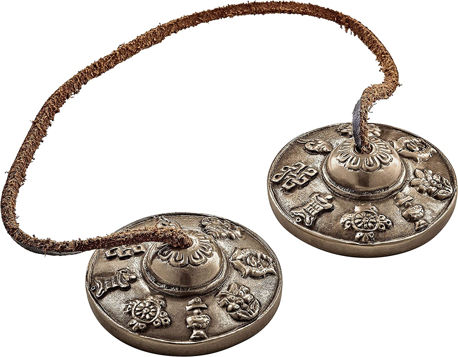 2-YEAR WARRANTY Includes Cotton Storage Bag Tingsha Finger Cymbals for Sound Healing Therapy Ashtamangala Yoga and Meditation /— MADE IN INDIA /— Special Cast Alloy with 8 Luck Symbol Finish