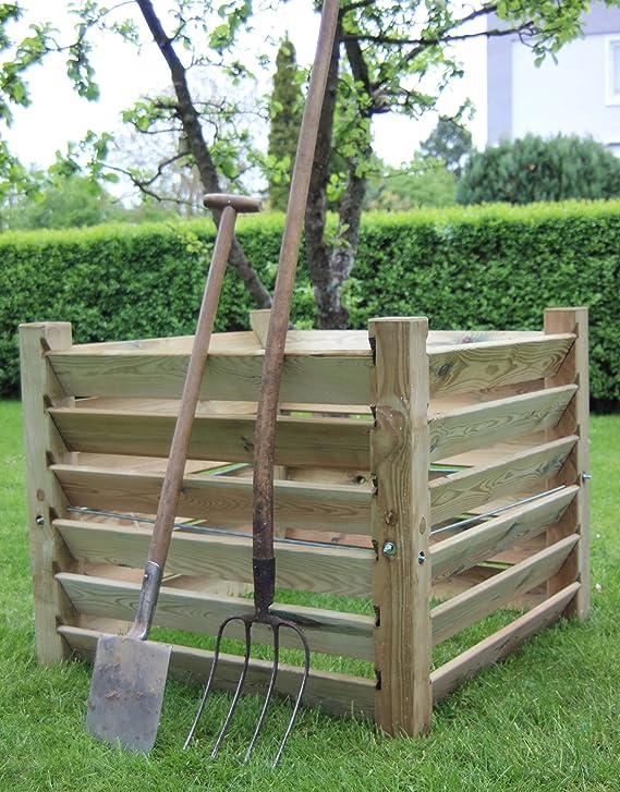 Compostador de madera (medidas: 100 x 100 x 80 cm, capacidad aprox. 800 litros): Amazon.es: Jardín