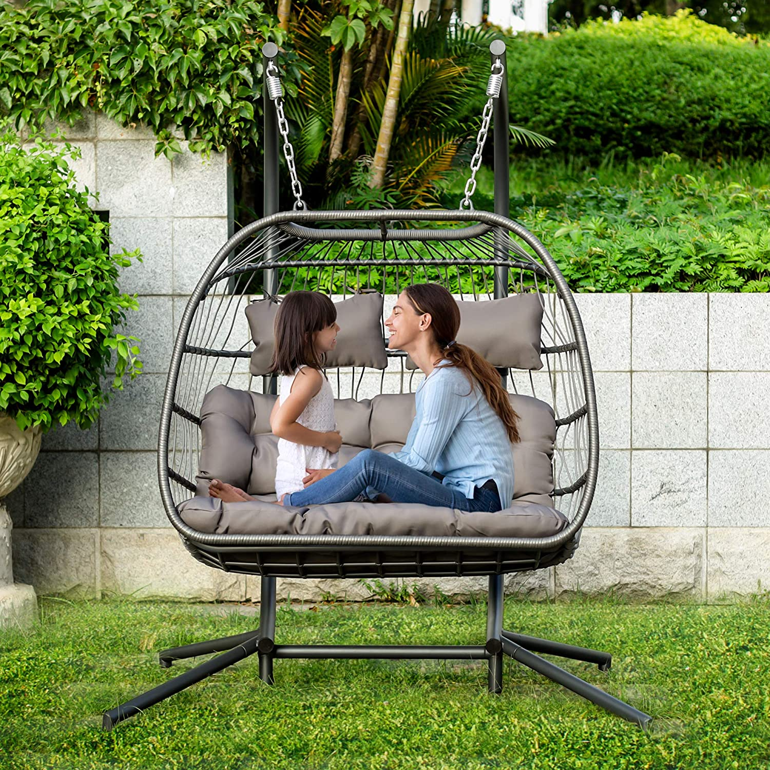 Amazon Com Brafab 2 Person Double Swing Chair Hanging Egg Chair Rattan Wicker Hammock With Stand And Cushion Aluminum Frame Grey Cushion Kitchen Dining