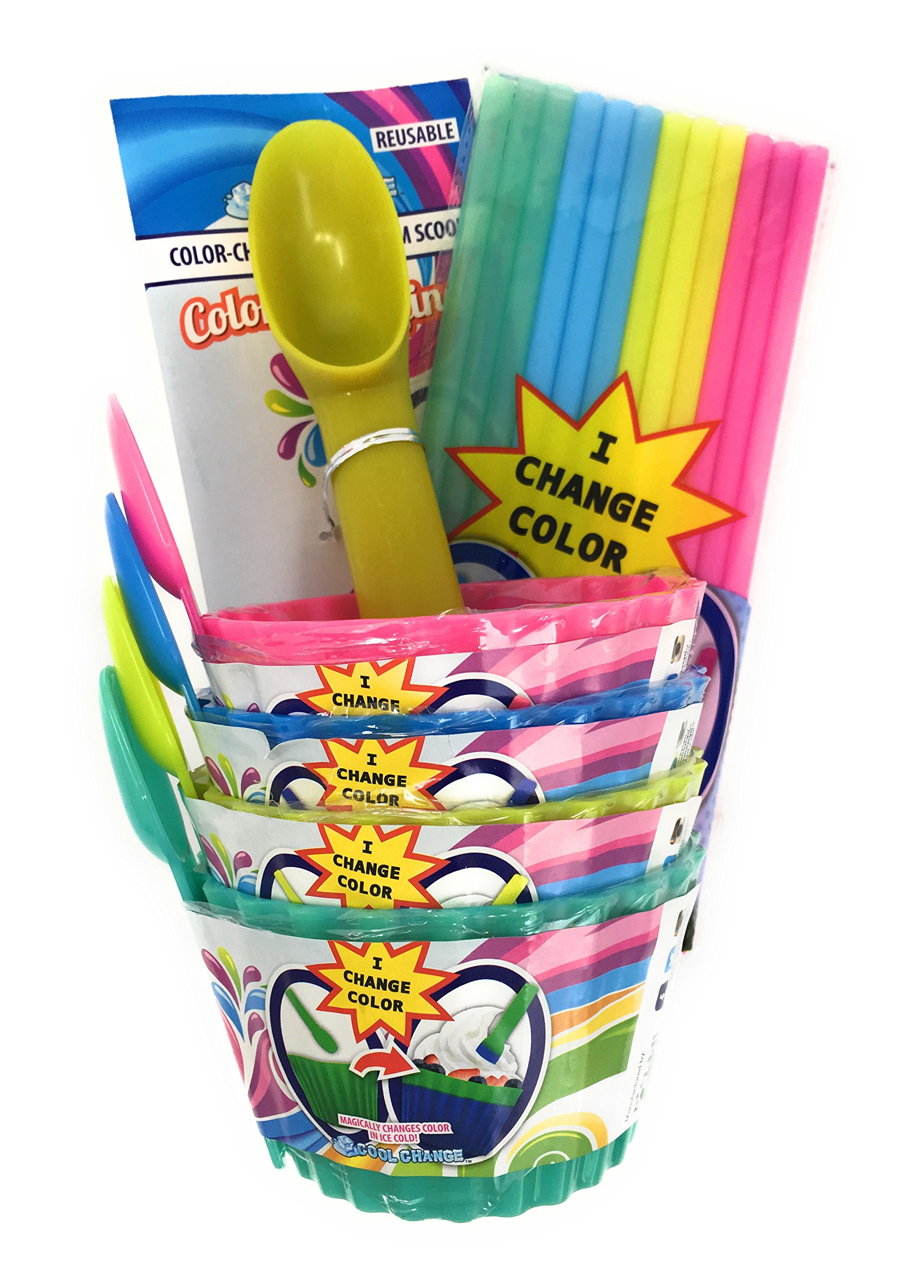 Color Changing Ice Cream Bowls, Spoons, Scoop, and Straws Set