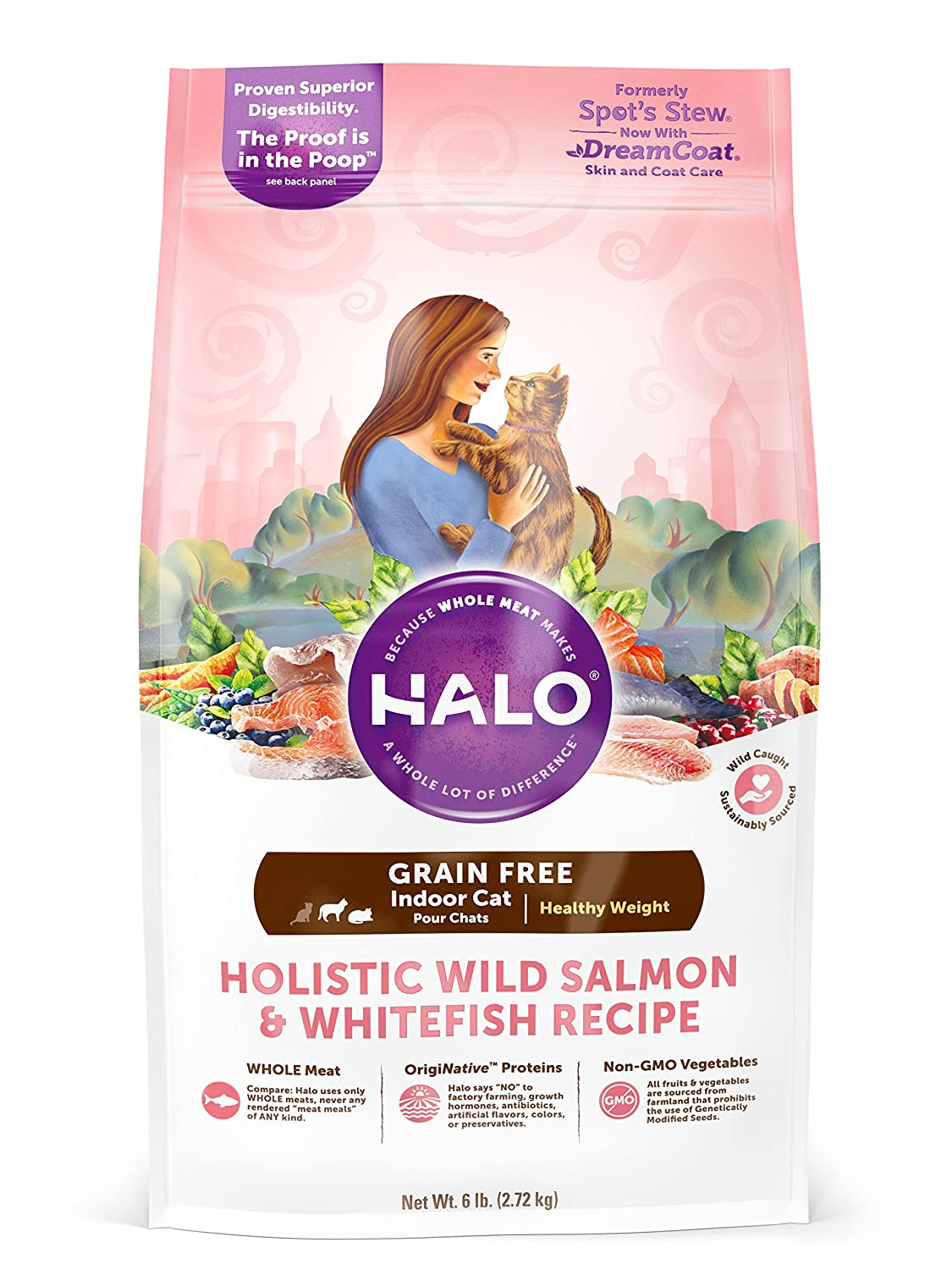 6 lb Halo Holistic Healthy Weight Dry Cat Food for Indoor Cats, Grain Free Wild Salmon and Whitefish, 6 LB Bag of Indoor Cat Food