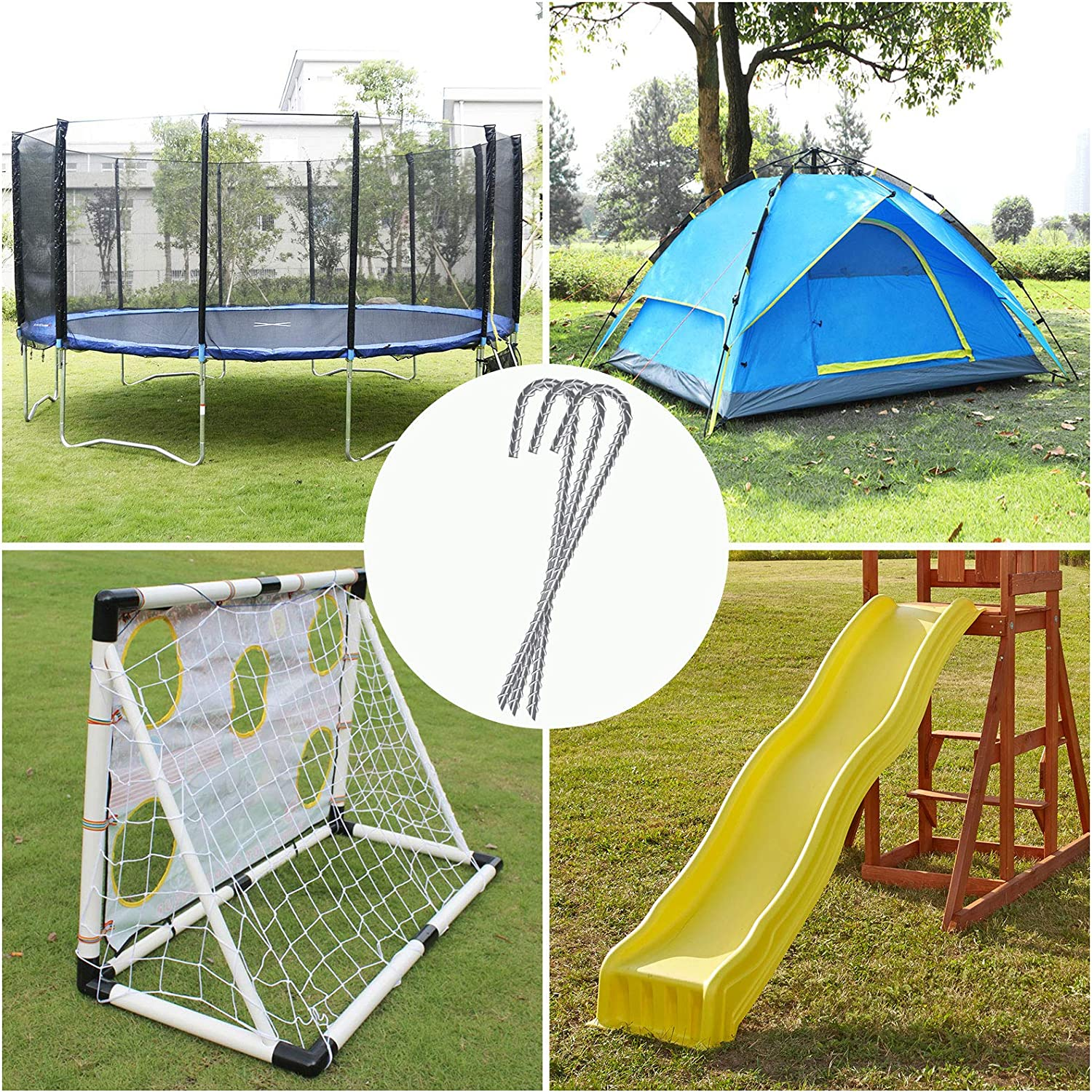 Great for Tents Trampoline and Fences AGPtEK 6 Packs Heavy Duty J Hook Rebar Stakes Galvanized Steel Garden Stakes Steel Ground Anchors Ground Stakes