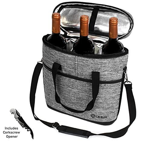 d53587083c83 Premium Insulated 3 Bottle Wine Carrier Tote Bag | Wine Travel Bag with  Shoulder Strap, Padded Protection, and Corkscrew Opener | Wine Cooler Bag