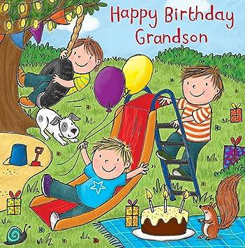 Twizler Happy Birthday Card For Grandson With Cake Dog Slide