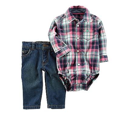77d478d39 Amazon.com: Carter's Baby Boys' 2-Piece Plaid Bodysuit And Jeans Set 3  Months: Clothing