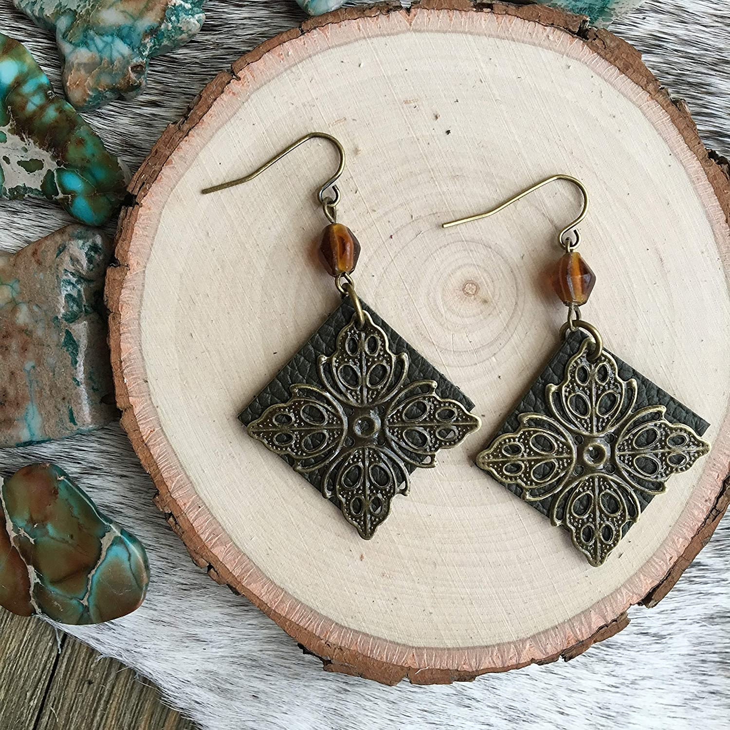 Boho Earrings Small Lightweight Dangles in Olive Green Leather and Bronze FIligree