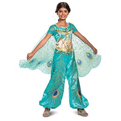 Disney Princess Jasmine Aladdin Deluxe Girls' Costume, Teal: Toys & Games