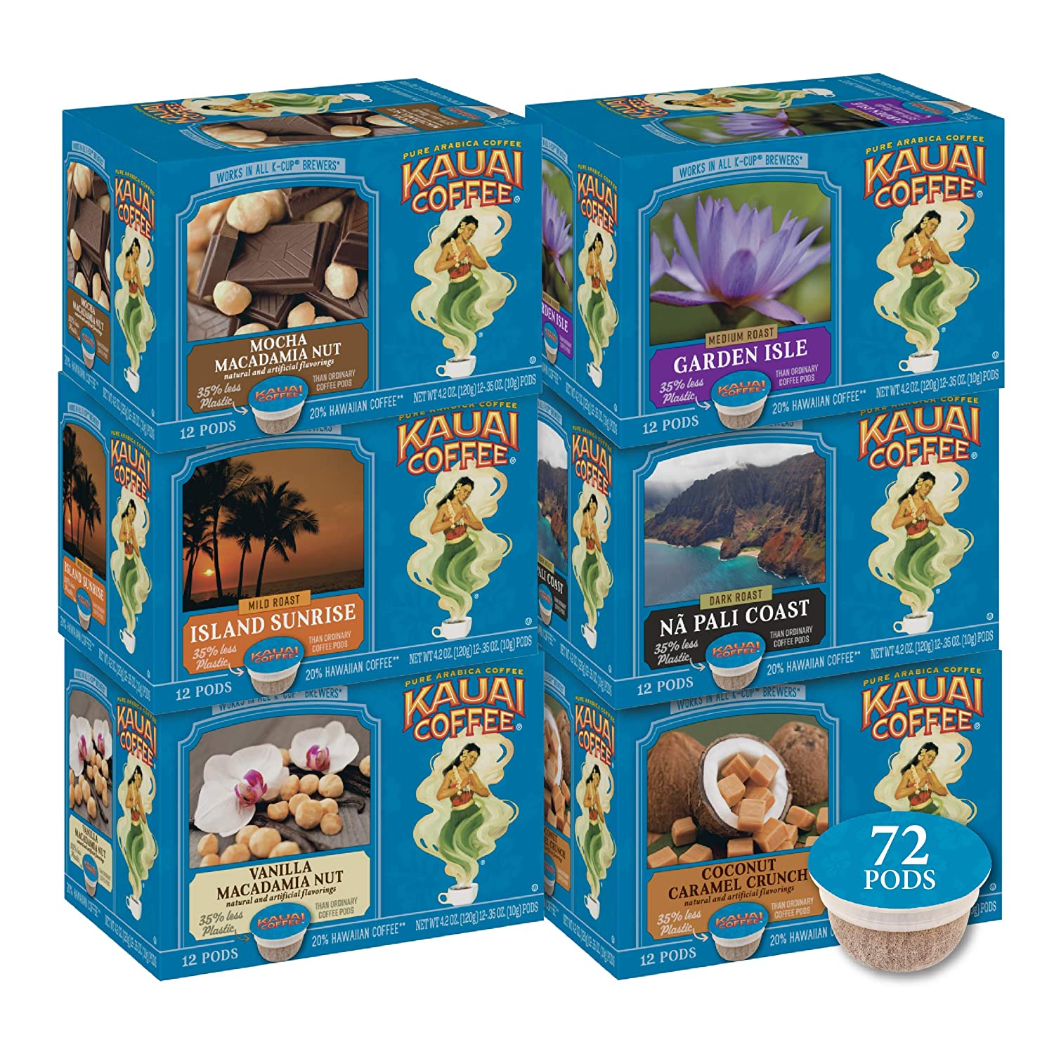 Kauai Coffee SingleServe Pods Pack 72 Compatible with Keurig K Cup Brewers 100 Arabica from Hawaii's Largest Grower 72, Bulk Variety, 72 Count