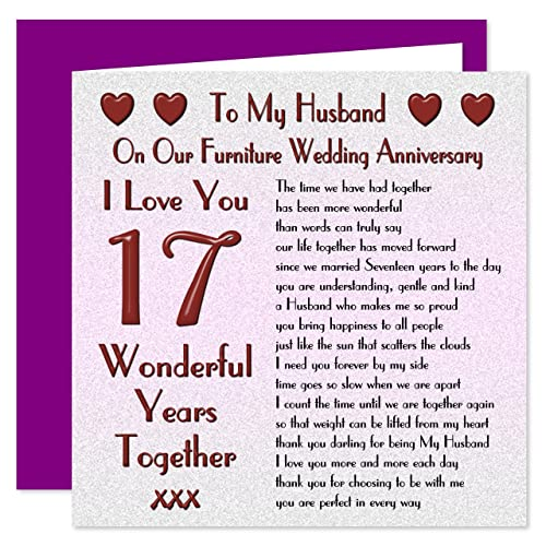 17th Anniversary Gift For Wife: On Your 17th Wedding Anniversary Card