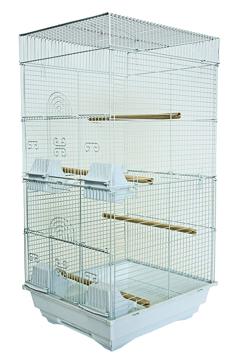 YML A6624 Bar Spacing Tall Square 4 Perchs Bird Cage, 14 by 16-Inch, White A6624WHT