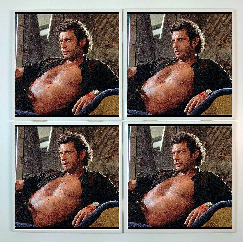 Ian Malcolm Coasters - set of 4 tile coasters - Jurassic Park, Jeff Goldblum