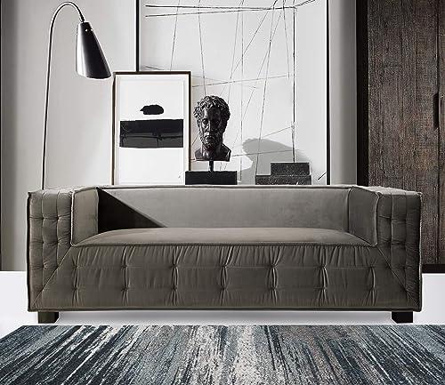 Iconic Home Bryant Sofa Velvet Upholstered Tufted Wide Armrest Tight Back Shelter Arm Design Espresso Finished Wooden Legs Modern Contemporary