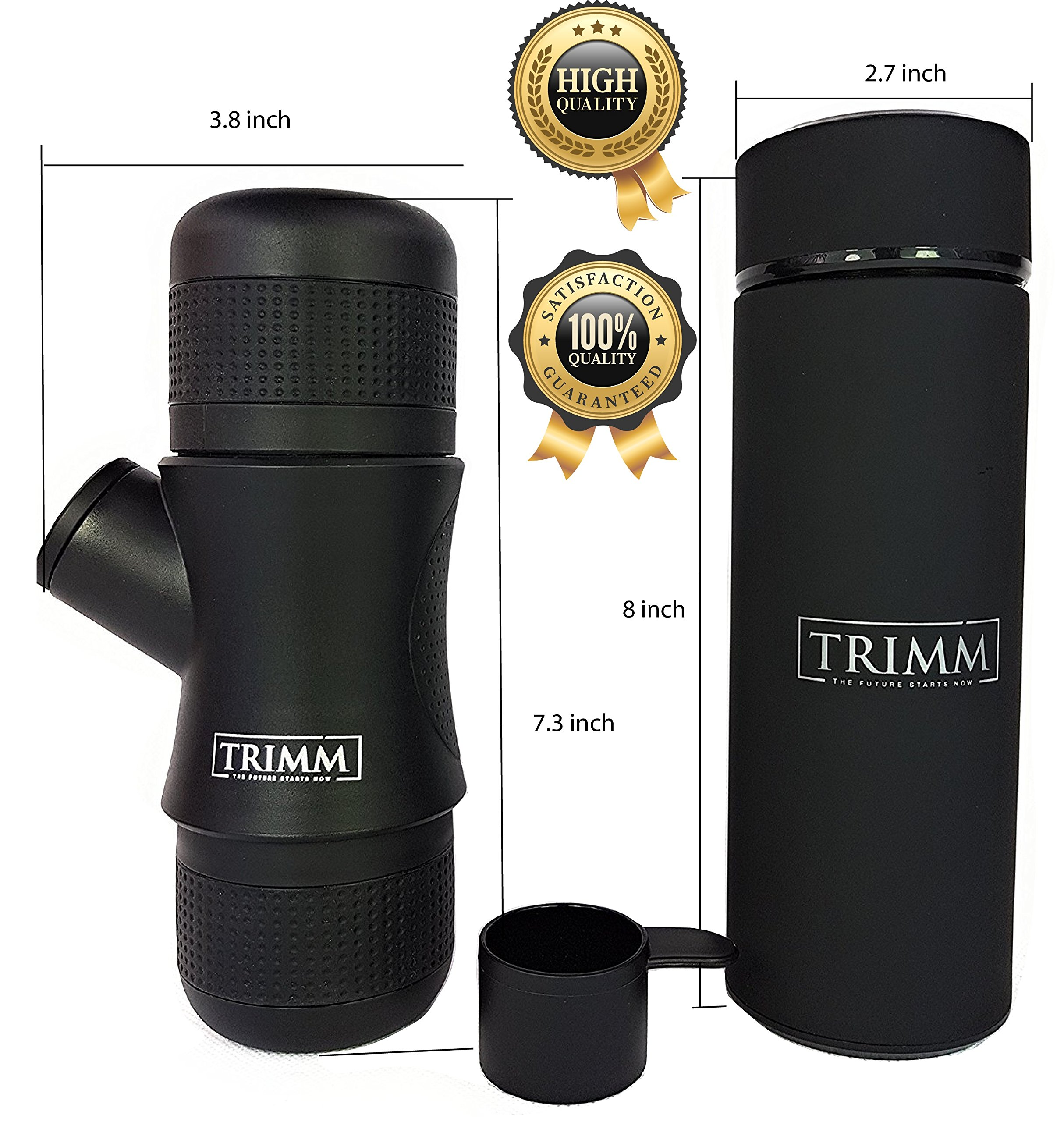 Trimm Portable Hand Held Espresso Machine and Thermos Vacuum Insulated Double Wall | Portable Espresso Maker and Flask | Single Cup Coffee Maker and Tea Thermos Bottle | Travel Set Great Gift Idea by TRIMM THE FUTURE STARTS NOW (Image #2)