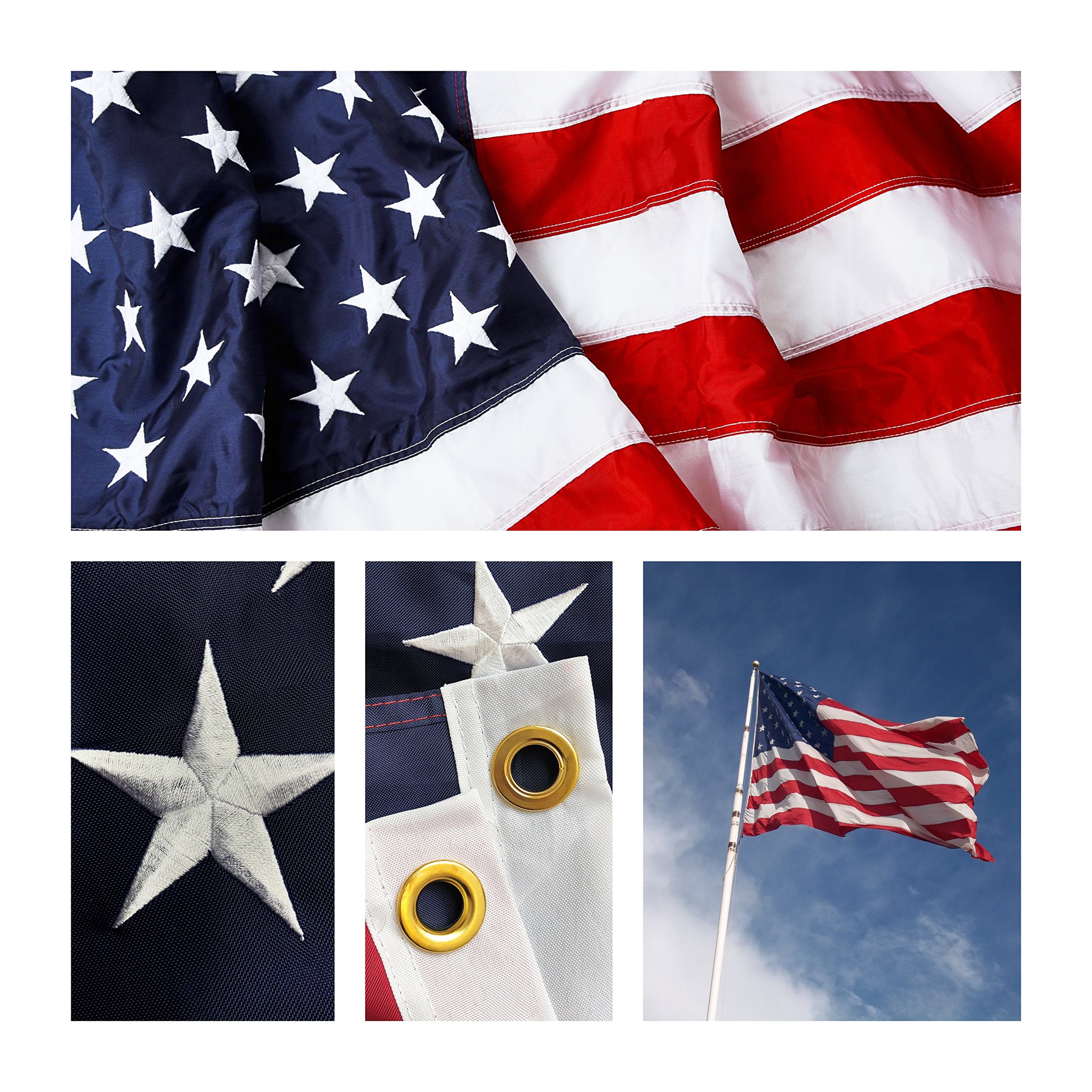 Premium Weatherproof Strong & Long Lasting Outdoor American Flag 3x5 ft, Heavy duty 240D Nylon with Embroidered Stars, Sewn Stripes and Brass Grommets, Great for Commercial and Residential Use