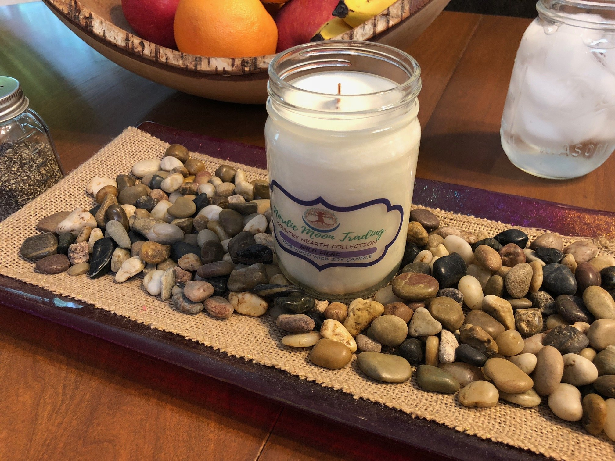 Nordic Moon Trading 100% Natural Soy Wax, Wood Wick Scented Candle 12 oz Mason Jar - Wild Lilac. Made in USA by Family Owned Business. 100 Hours of Burn Time. Clean Burning, No Black Soot. by Nordic Moon Trading (Image #3)