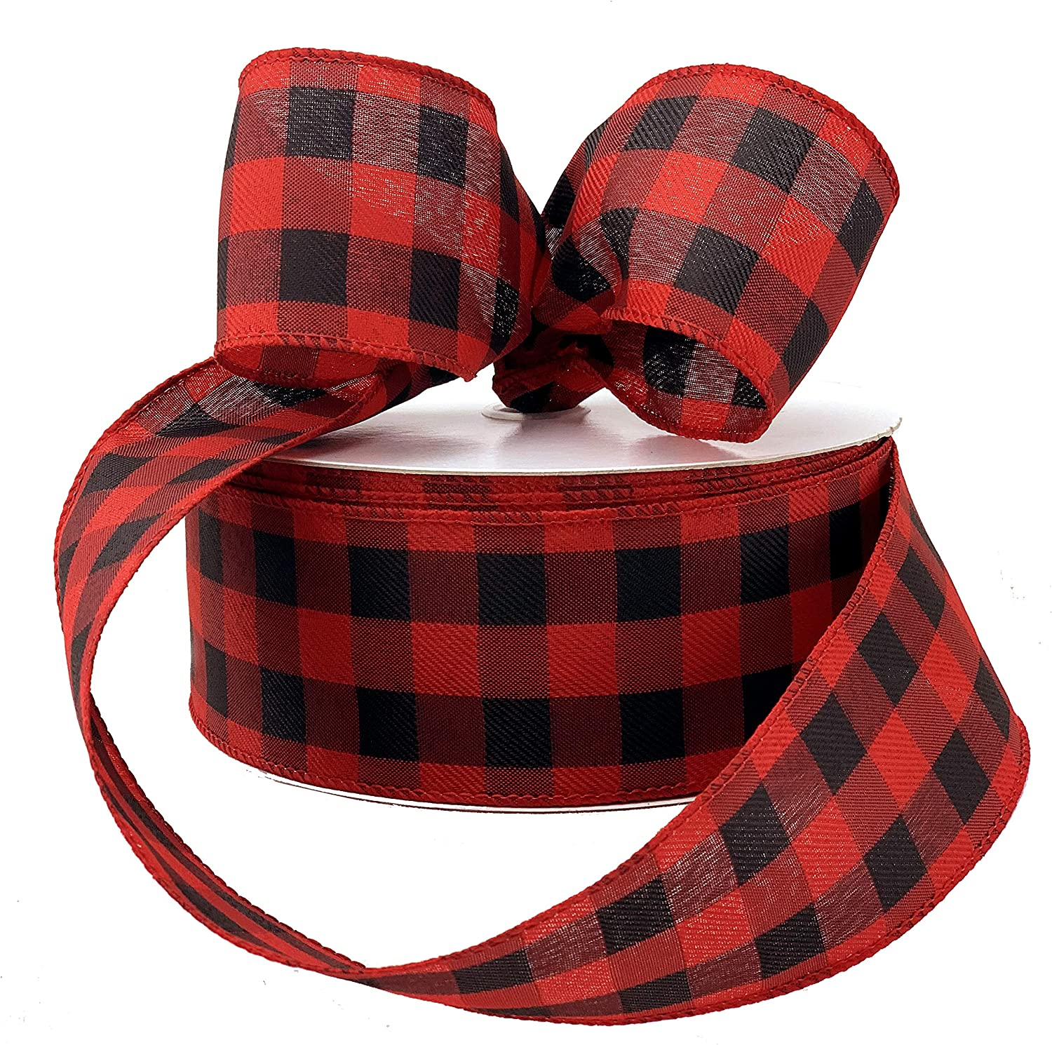 "Buffalo Plaid Wired Ribbon Decoration - 2 1/2"" x 50 Yards, Black & Red Plaid, Christmas, Wreath, Farmhouse Decor, Garland, Gifts, Wrapping, Wreaths, Bows, Valentine's Day"