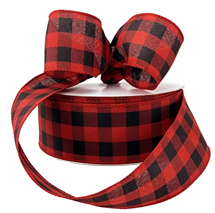 "2.5/"" Wired Buffalo Check Ribbon Red Black Green White Orange Christmas Tree Bow"