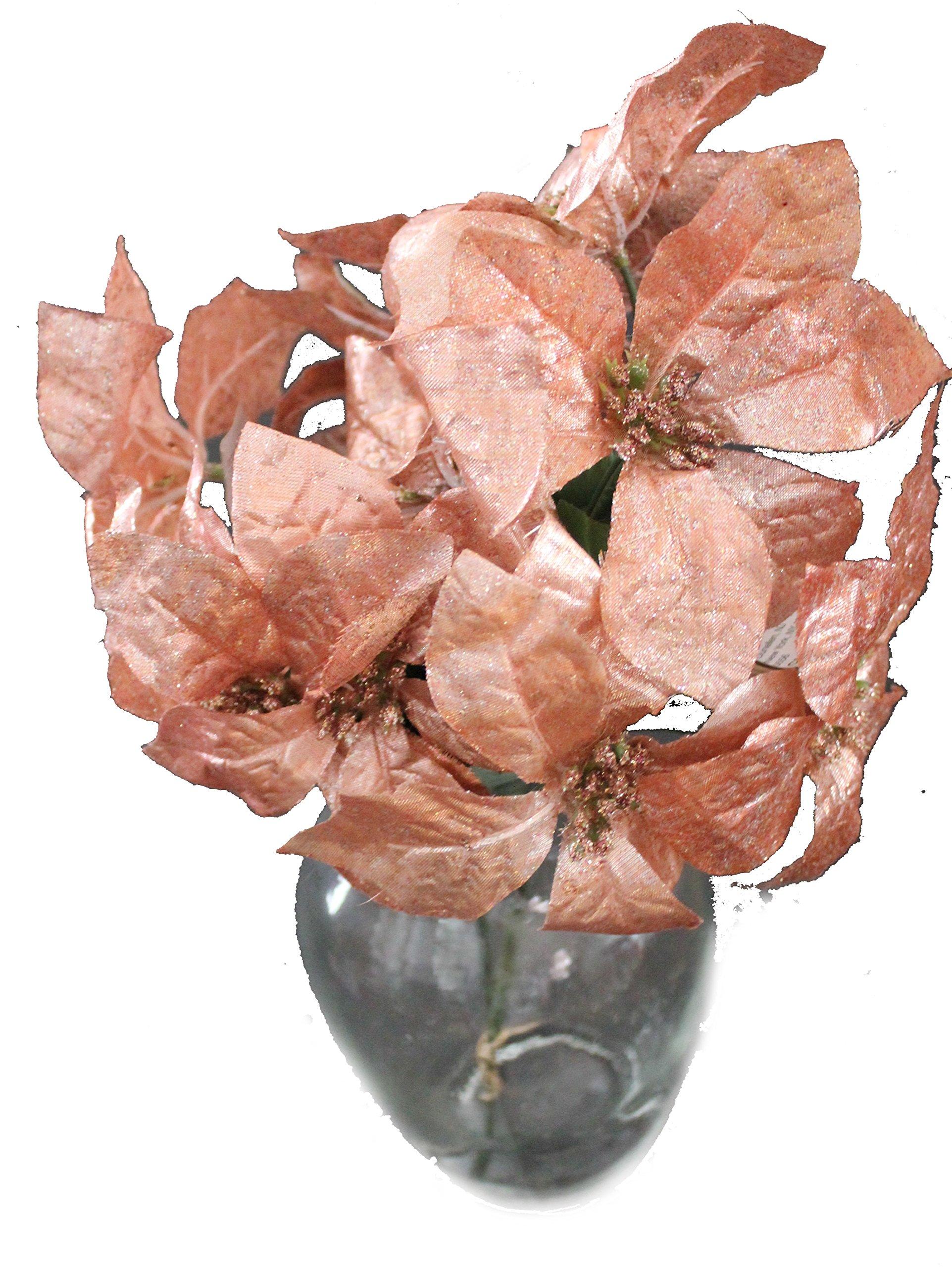 "silk flower arrangements set of 2 14"" sparkling christmas bush with artificial 6"" poinsettia flowers (rose gold)"