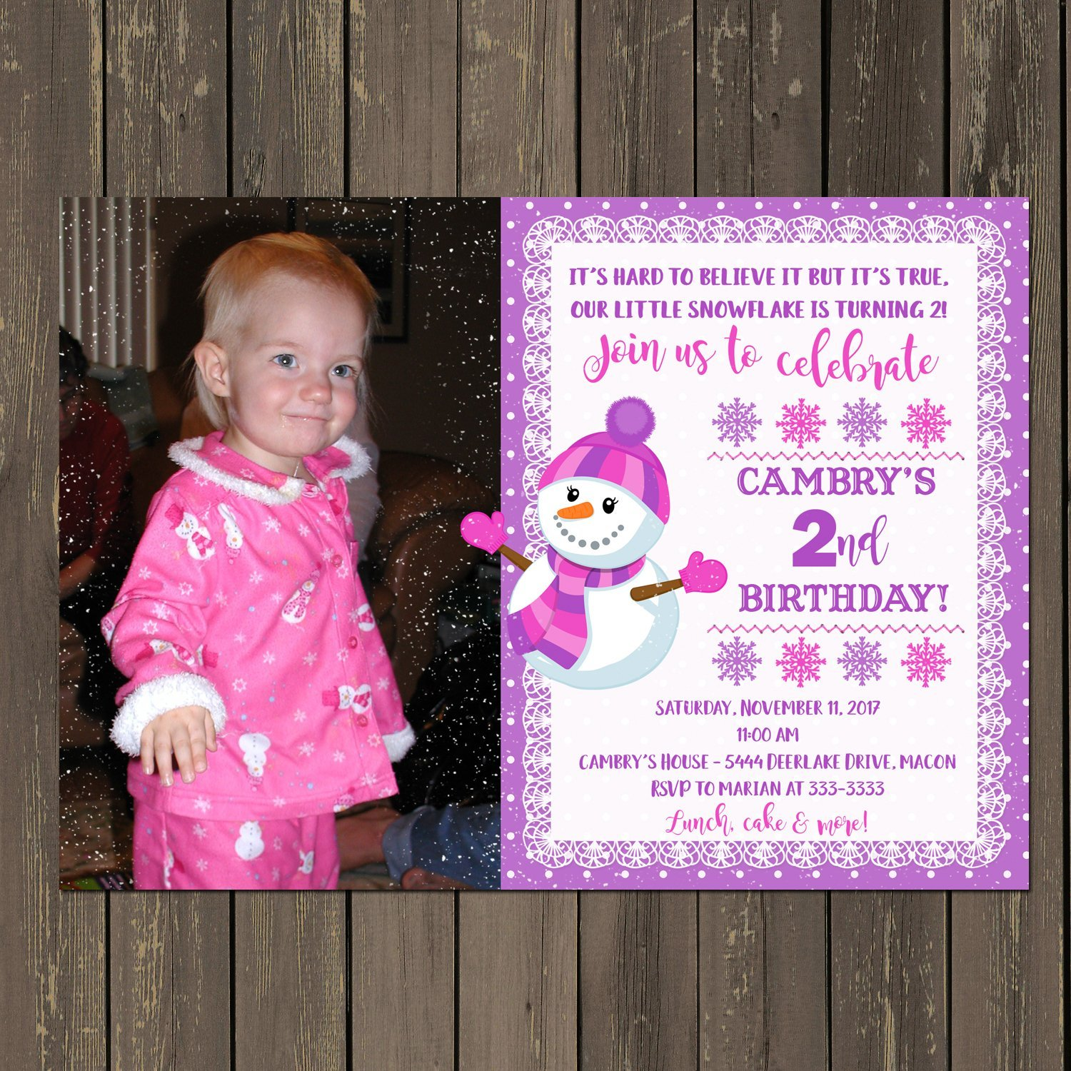Amazon Girl Snowman Birthday Invitation With Photo Winter Snowflake Party Invitations Any Age Set Of 10 White Envelopes