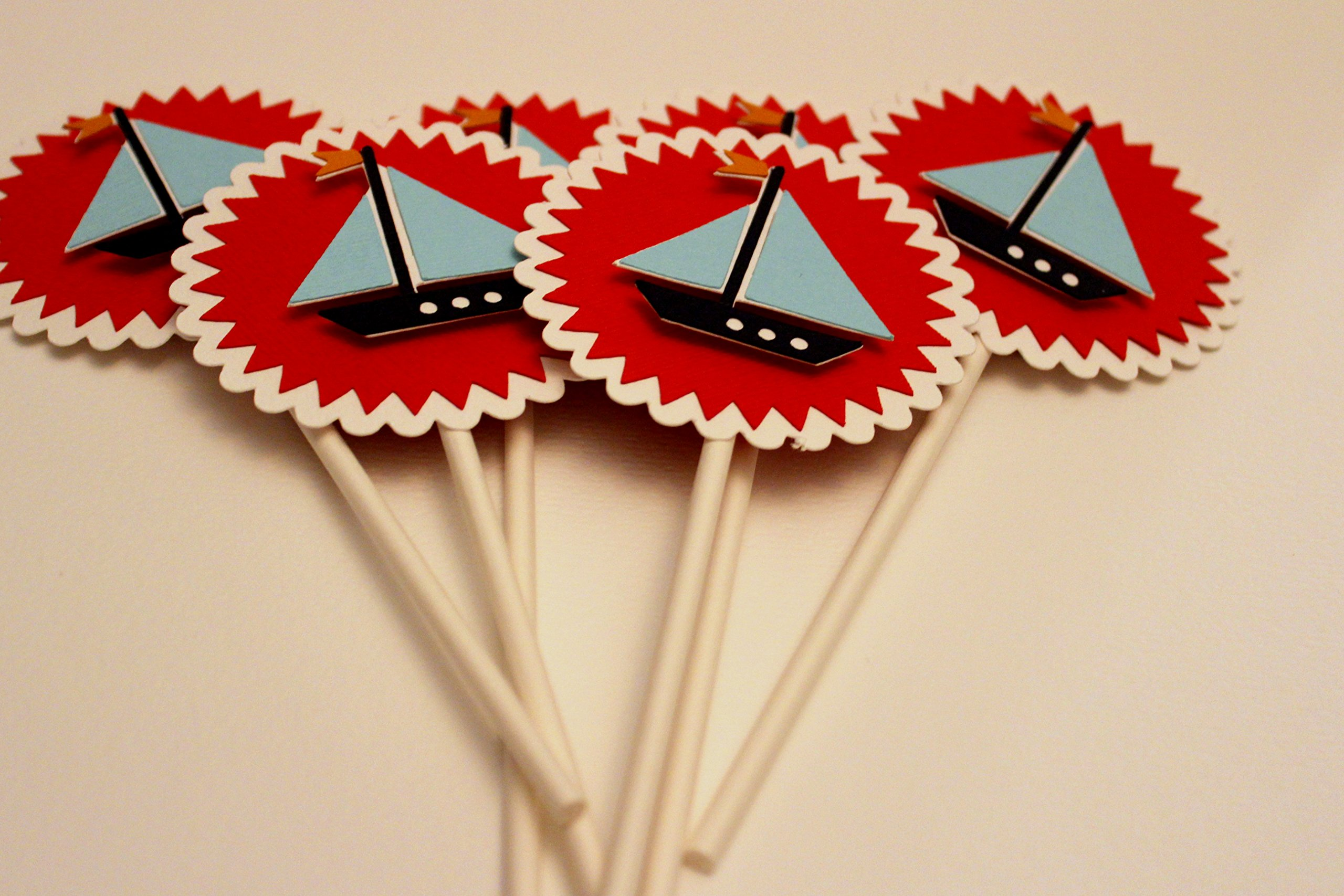 AHOY IT'S A BOY toppers - Sailboat cupcake toppers - Baby Shower cupcake decorations - Birthday Party - Set of 12 cupcake toppers