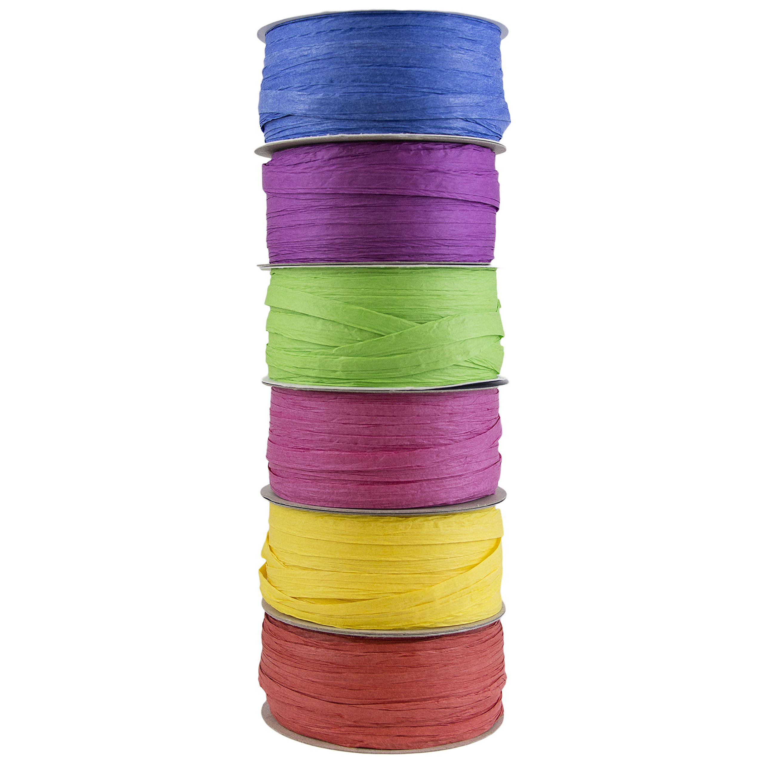 JAM PAPER Assorted Raffia Ribbon Set - 1/4 Inch Wide x 50 Feet - Primary Colors - 6 Wraphia Spools/Pack by JAM Paper