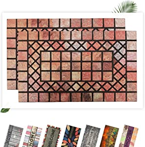 """EZHOMEE Outdoor Rubber Welcome Door Mat(29.5""""x17.7""""), Heavy Duty and Non-Slip, Hello Floor Mat for Entry, Front Door, Entrance, Patio, Porch, High Traffic Areas for Dog Paw, Red Stone, 2 Pack"""