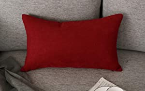 Red Decorative Accent Pillows for Living Room, Cotton Throw Pillow Cover Bed Couch Sofa Bedroom Lumbar Pillowcase Cushion Cover 12 x 20 Inch