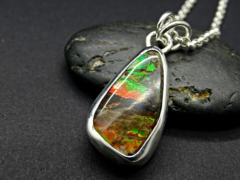 51878ebd1 Amazon.com: rare Ammolite pendant silver, red green Ammolite necklace, rare  gemstone pendant gift for her, Ammolite jewelry genuine fossil pendant:  Handmade
