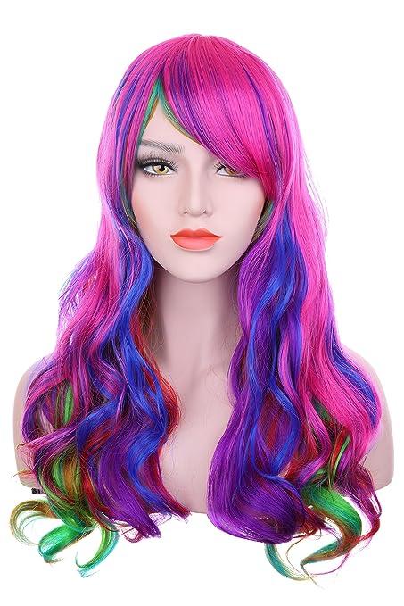 hosee peluca de Mujeres Multicolor, para cosplay, fiesta, pelo largo rizado, completa