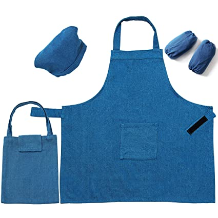 wide varieties crazy price new list 5 Pieces Kids Chef Apron Set,Adjustable Cotton Aprons With 2 Pockets For  Those Child's Chefs In Training(Denim S)