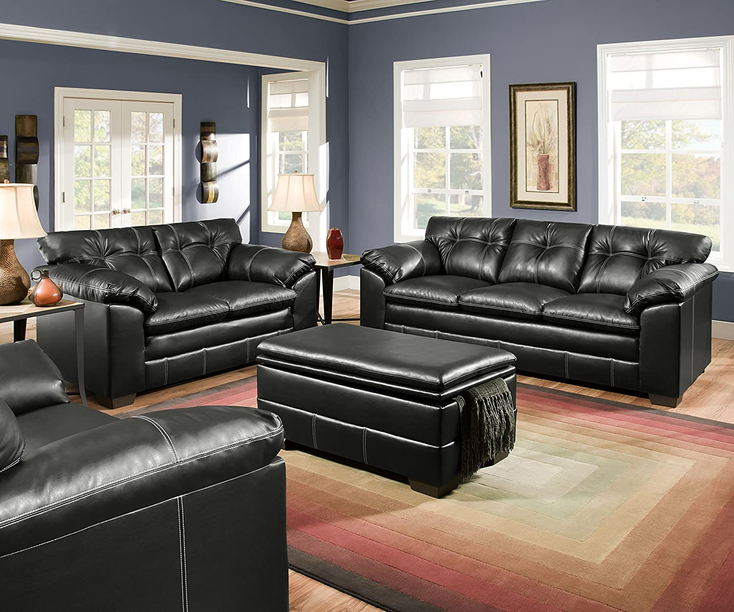 simmons living room furniture. Amazon.com: Simmons Upholstery 6769-095 Premier Onyx Bonded Leather Storage Ottoman: Kitchen \u0026 Dining Living Room Furniture O