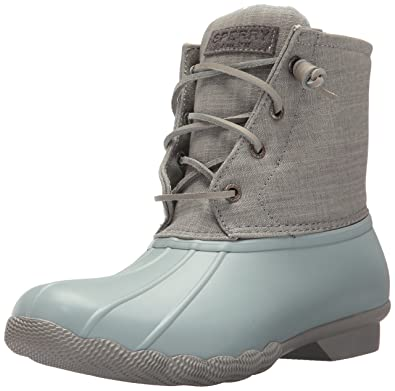 a916f24cabbd Sperry Women s Saltwater Canvas Rain Boot Abyss Grey 6 Medium US