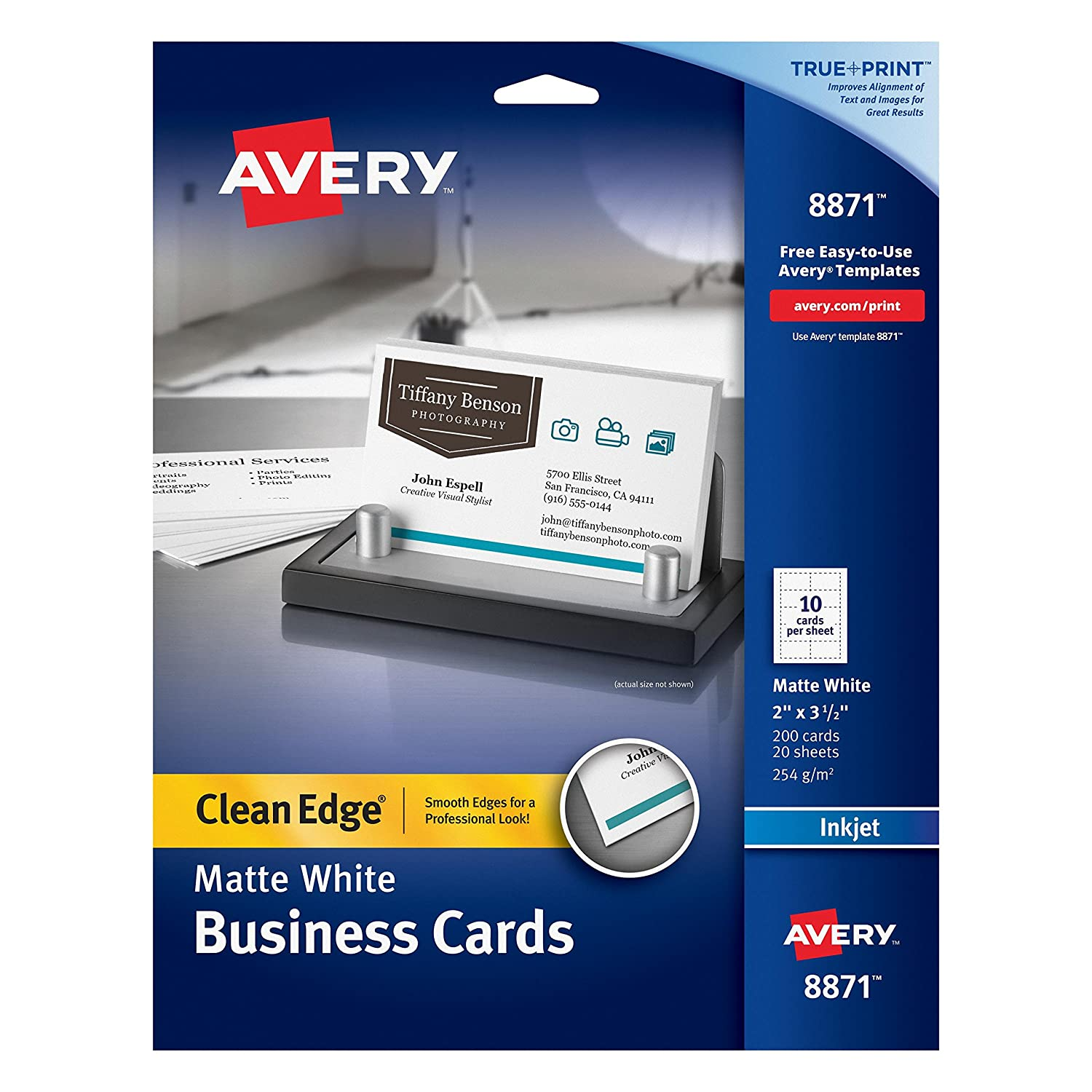 Amazon avery two side printable clean edge business cards amazon avery two side printable clean edge business cards for inkjet printers matte white pack of 200 08871 business card stock office alramifo Image collections