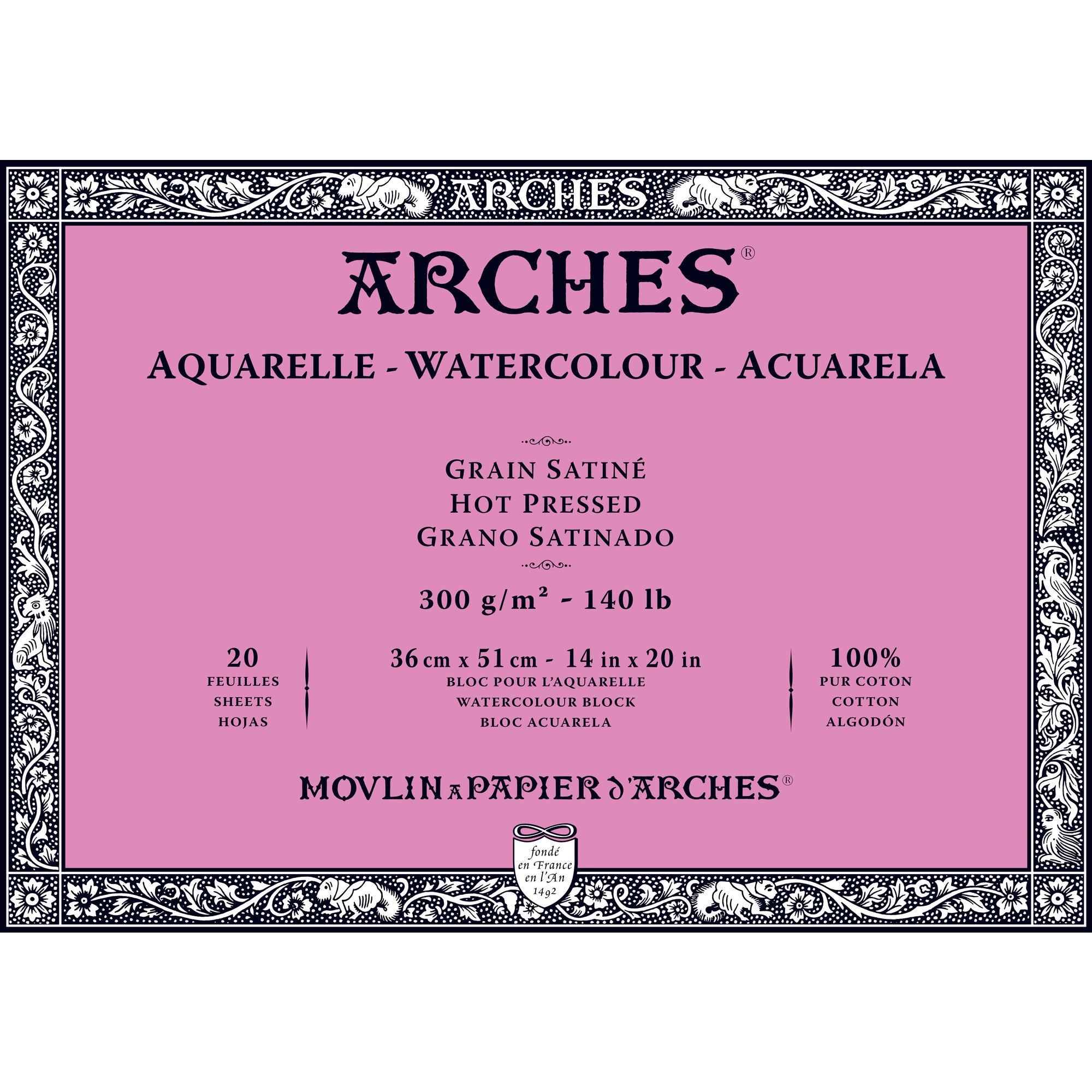 Arches Watercolor Paper Block, Hot Press, 14'' x 20'', 140 pound