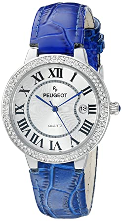 f57ab3b263c2f Image Unavailable. Image not available for. Color  Peugeot Women s 3043SBL  Silver Crystal Bezel Blue Leather Strap Analog Display Quartz Blue Watch