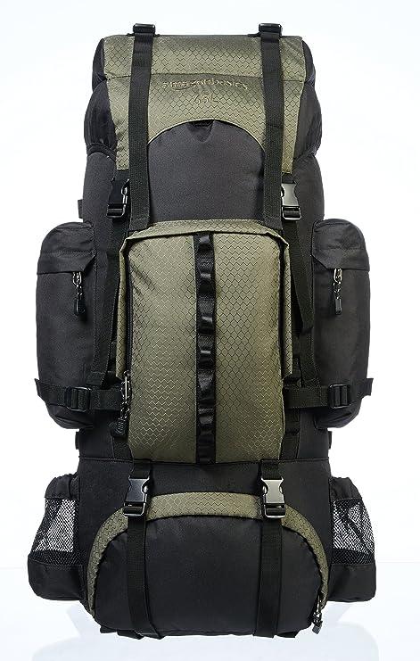 7a45a29fdd AmazonBasics - Zaino da escursionismo con telaio interno e cerniera  antipioggia, 65 L, Verde