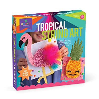 Craft-tastic - String Art Craft Kit - Makes 2 String Art Canvases - Tropical Edition with Flamingo & Pineapple Patterns: Toys & Games
