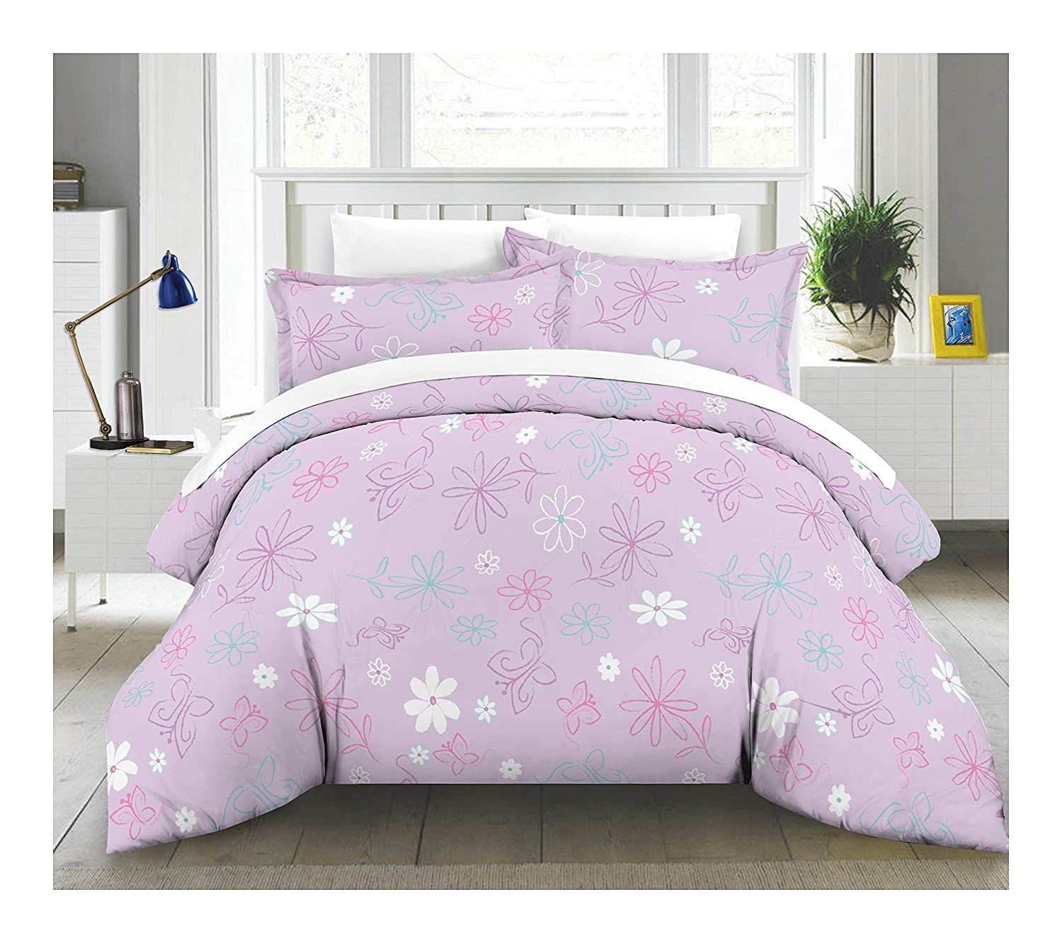 com bag mainstays floral butterfly walmart bedding comforter kids in a set ip bed