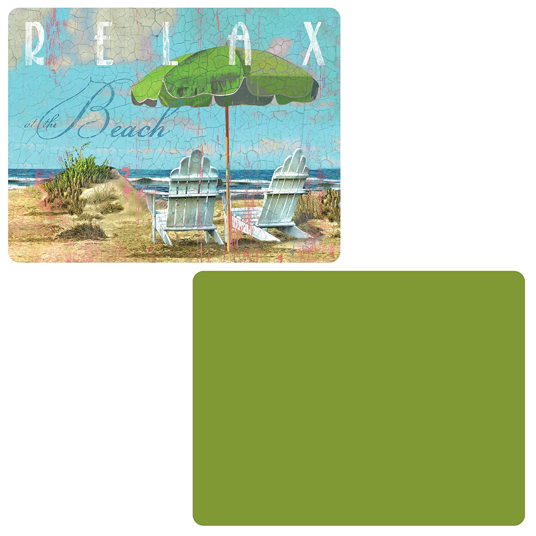 CounterArt 'グリーン/Day At The Beach '柔軟なカッティングマット、2のセット B0747SR9S4